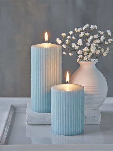 blue candle lighting pillar candles nordic house