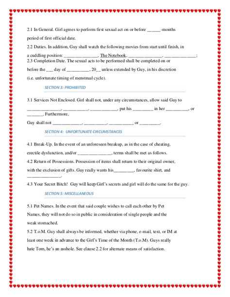 Dating Contract Dating Contract Template