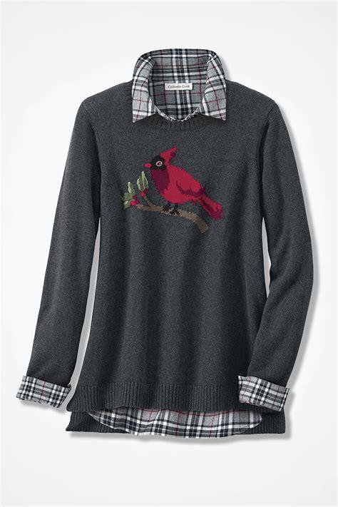 Sweater Cardinal cardinal intarsia sweater coldwater creek