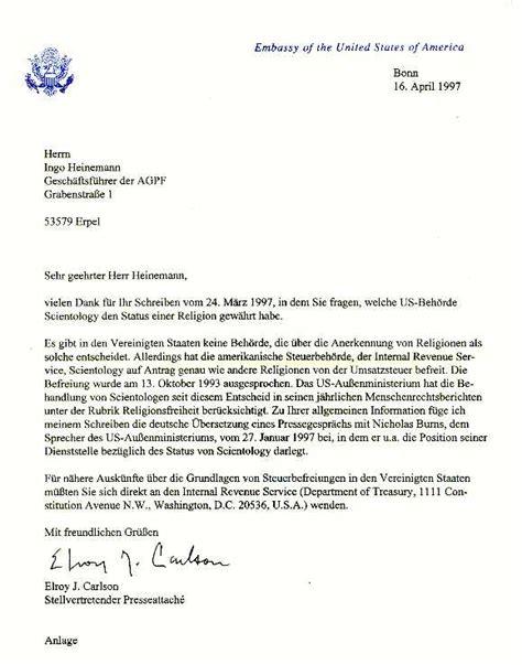 Brief International Reklamation Archiv Scientology In Den Usa Nicht Als Religion Anerkannt