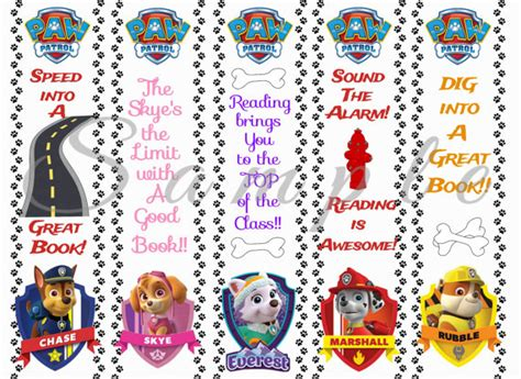 printable bookmarks with names paw patrol party favor bookmarks digital printable instant