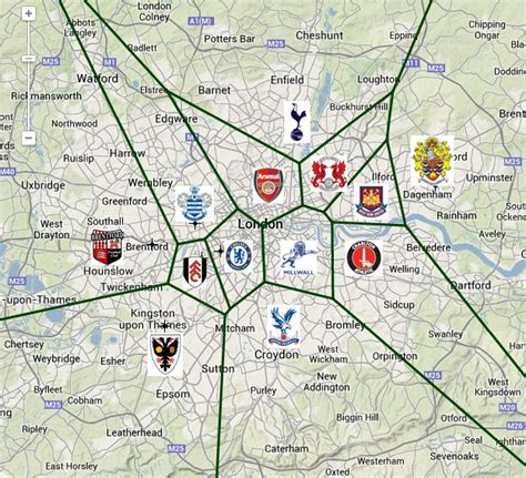 map of premier league teams a football map if you re a londoner this maps