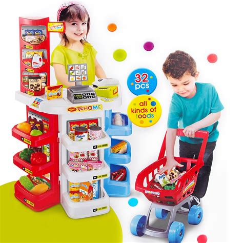deluxe supermarket shopping trolley set