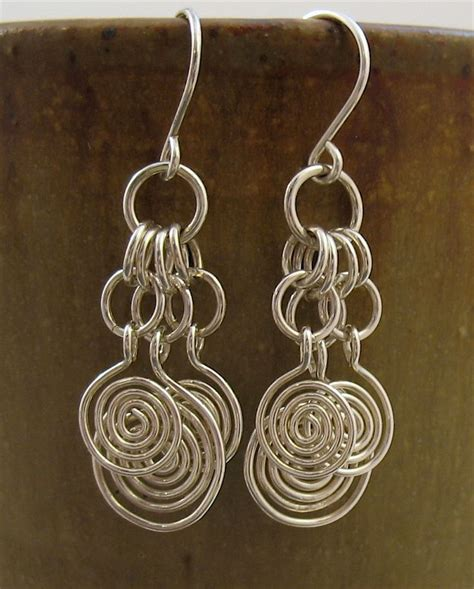 Handmade Wire Earrings - handmade sterling silver wire dangle earrings