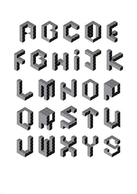 3 dimensional typography geometric alphabet on behance