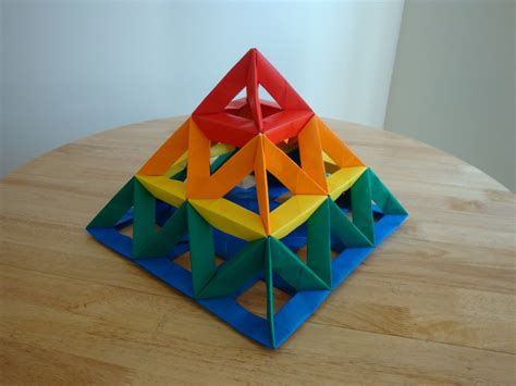 Modular Origami Units - open frame unit 3x3 pyramid 2 modular origami the