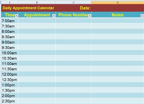 ms excel daily appointment calendar template formal word