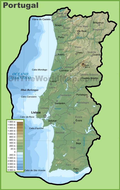 where is portugal located on the world map portugal physical map