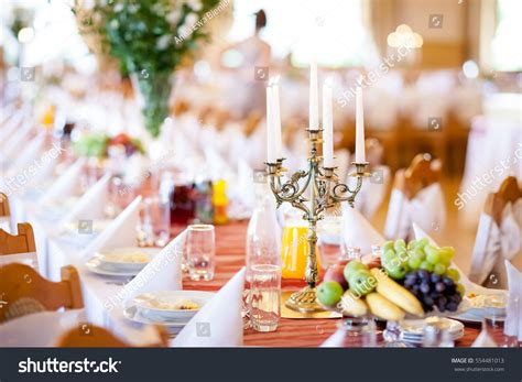 beautifully decorated dinner tables reception tables beautifully decorated ready wedding stock