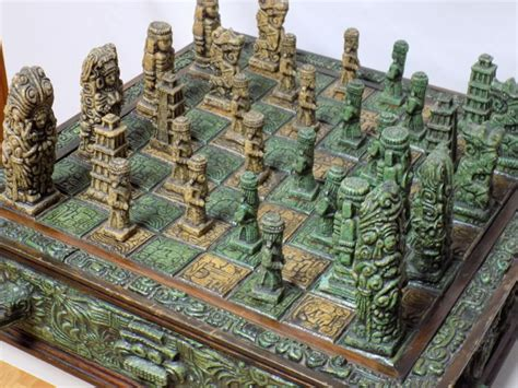 Handmade Rock - antique aztec chess board handmade from volcanic rock