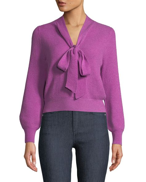 co v neck tie collar ribbed wool pullover sweater