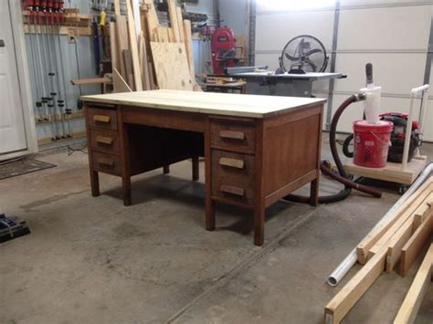 convert a bench plans converting an old desk to a workbench by ppworkshop