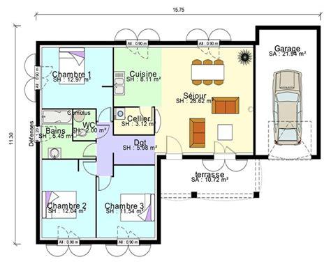plan maison plain pied 3 chambres avec suite parentale et