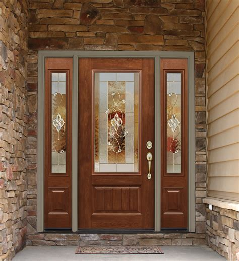 front entry essence decorative glass from provia is shown here on this beautiful signet fiberglass door and