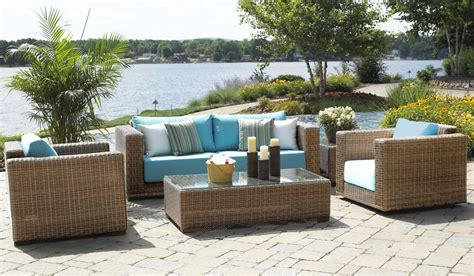 Outdoor Patio Furniture Stores Furniture Outdoor Wicker Furniture With Grey Tile Flooring And Blue Modern Chair Also Some Blue