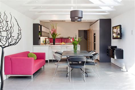 kitchen sectional pink sofas an unexpected touch of color in the living room