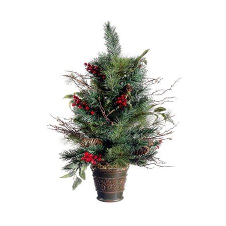 vermont pine xmas trees 26 quot potted pine cone berry winter vermont pine artificial tree unlit walmart