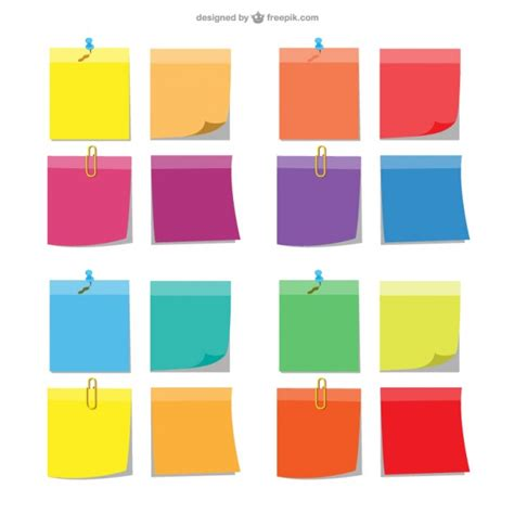 Colorful Sticky Notes Vector Free Download Editable Post It Note Template