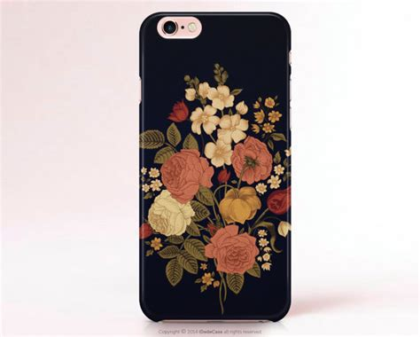 Casing Hp Black Froral Flower Print Iphone 5 5s Iphone 5c iphone 7 iphone 7 plus iphone 6 matte iphone 6s