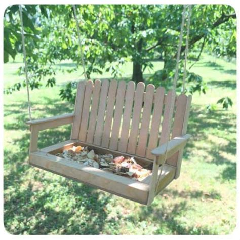 how to make a swing bench we love these popsicle stick bird feeders the whoot