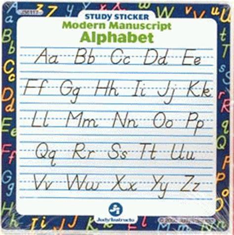 printable alphabet manuscript chart modern manuscript handwriting stickers for sale by smileyme