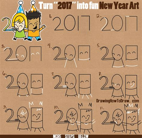 how to draw new year how to draw new years new year word of
