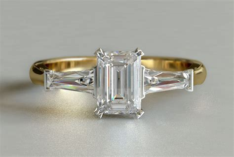 yellow gold emerald cut 3 engagement ring