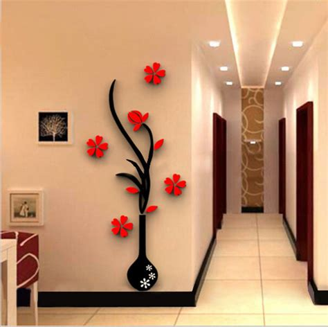 Yy279 5 Wall Sticker Diy 5 Size Colorful Flower Vase 3d Acrylic Decoration Wall