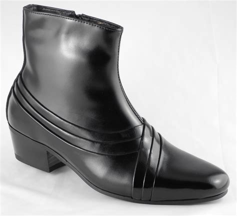 mens cardin cuban heels black leather ankle boots
