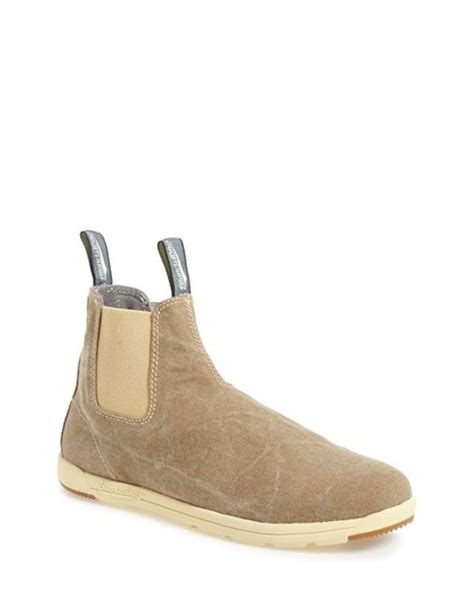 light brown chelsea boots blundstone footwear 1420 canvas chelsea boot in beige