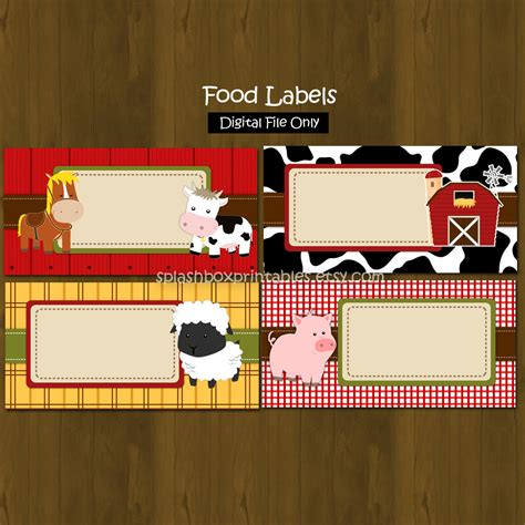 barnyard card template barn printable food labels barnyard farm animals