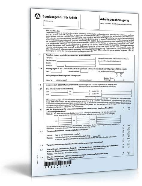 arbeitsamt wohnung arbeitsbescheinigung f 252 r die arbeitsagentur formular zum
