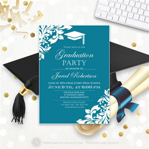printable graduation party invitation template blue teal high