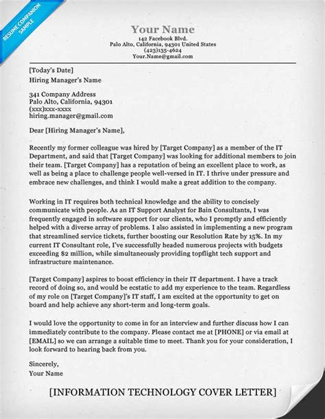 It Cover Letter by Information Technology It Cover Letter Sle Resume Companion
