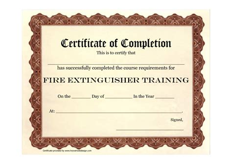 extinguisher certificate template 9 best images of safety certificate template