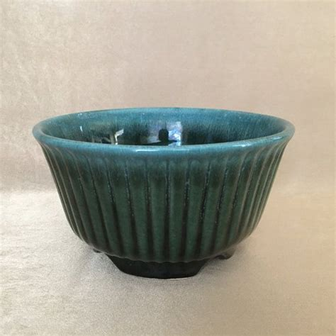 Hull Planter by Hull Pottery Planter Ribbed Planter Teal Green