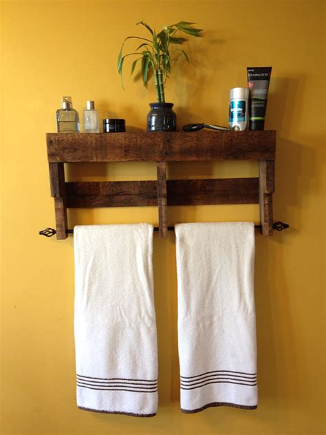 kitchen towel rack ideas rustic pallet towel rack shelf bathroom by