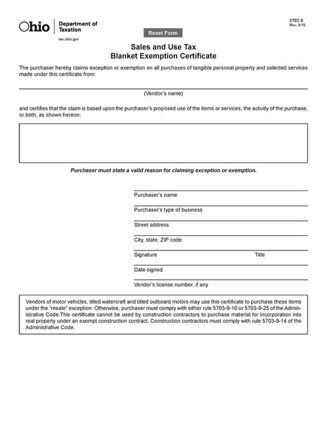 Blanket Exemption Certificate Ohio by Ohio Resale Certificate Trivantage