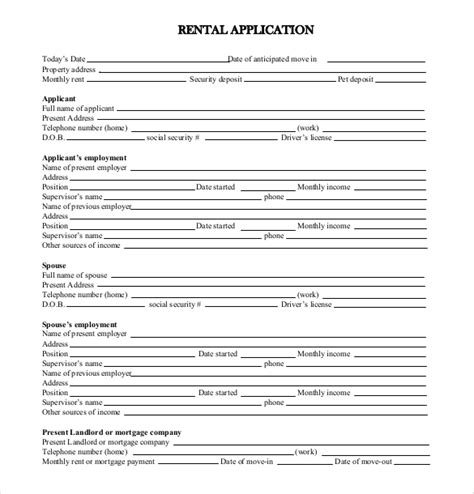 application form template free 13 rental application templates free sle exle