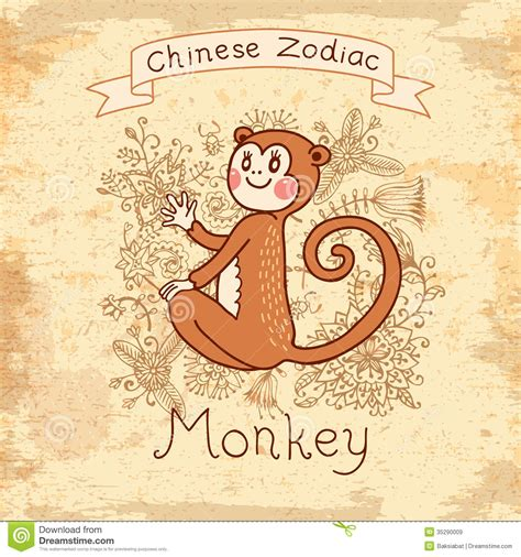 vintage card with chinese zodiac monkey royalty free