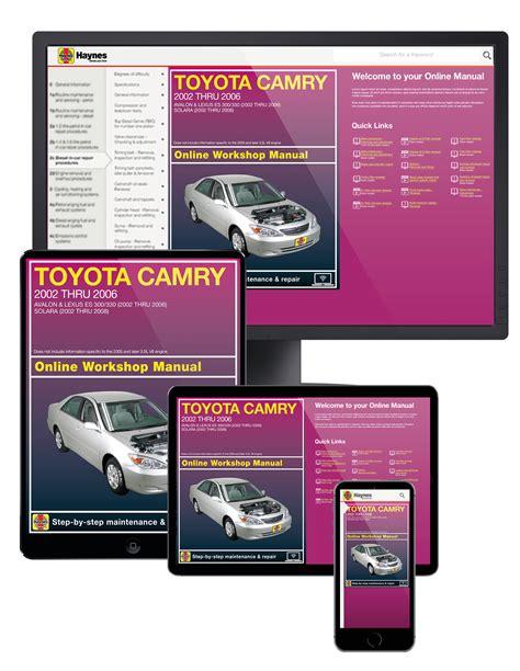 online service manuals 2006 toyota solara engine control toyota camry avalon lexus es 300 330 02 06 toyota solara 02 08 haynes online manual