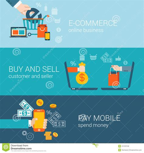 bid or buy shopping flat style mobile e commerce buy pay infographic