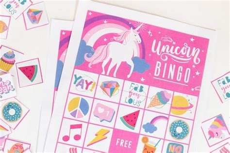 printable unicorn bingo 100 free party printables for every party theme party