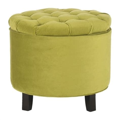 Safavieh Amelia Oak Tufted Storage Ottoman In Asparagus Safavieh Amelia Tufted Storage Ottoman