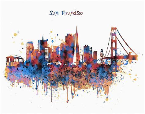 Eiffel Tower Duvet San Francisco Watercolor Skyline Mixed Media By Marian Voicu