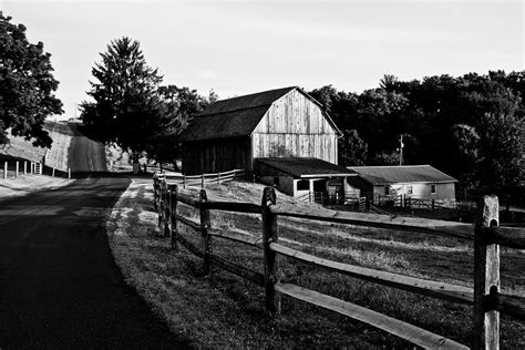 Large Farmhouse Plans by Langus Farms Black And White Photograph By Jim Finch