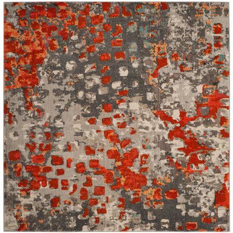 10 Square Rug Orange by Safavieh Monaco Gray Orange 7 Ft Square Area Rug Mnc225h