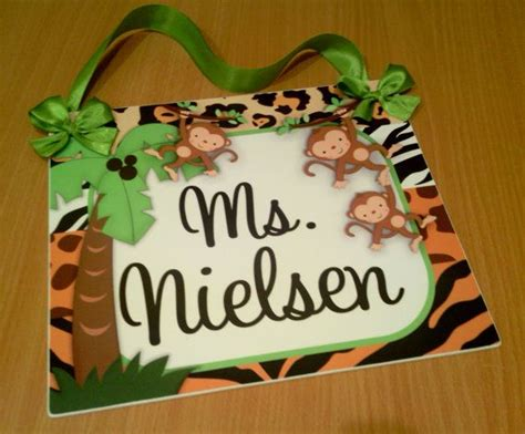 school themed names custom jungle monkeys themed class wall plaque