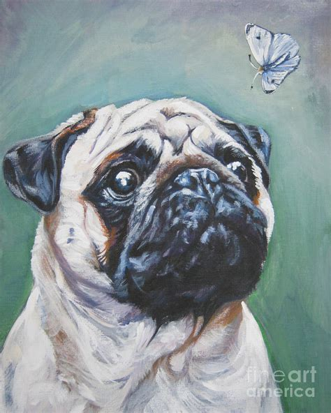 pug butterfly pug with butterfly painting by shepard
