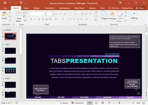 Interactive Tabbed Presentation Template For Powerpoint Powerpoint Tabs Template